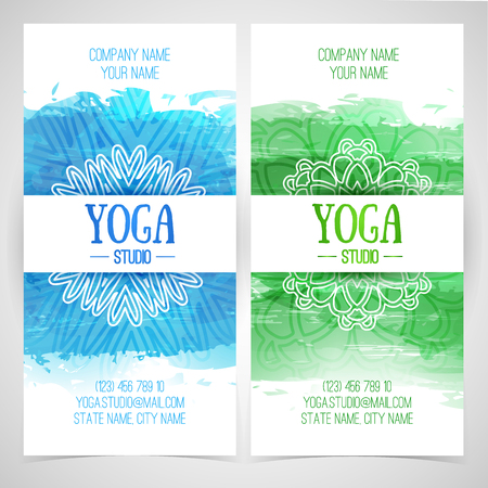 yoga class: Set design template brochures, cards, invitations, flyers for a yoga studio with watercolor texture and mandala. Vector. Place for your text.