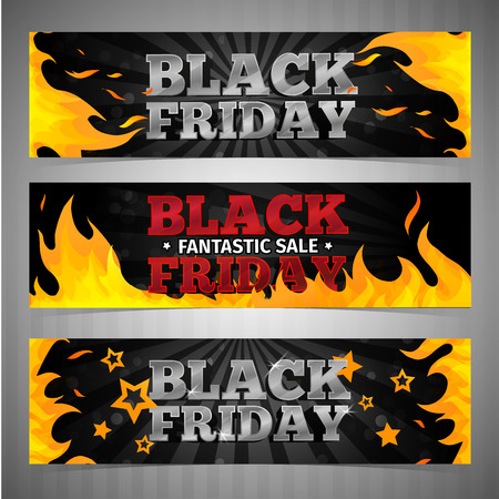 black and red: A set of design templates horizontal web banners, coupon, poster for Black Friday. Volume text with background and pattern of fire. Vector illustration