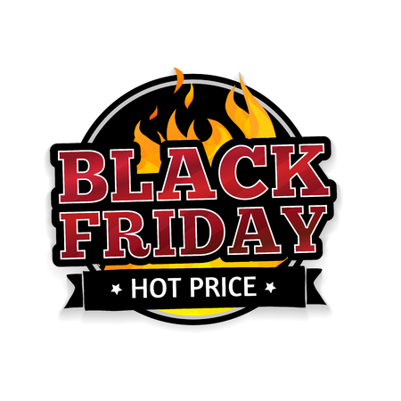 Round retro logo, icon, label, sticker for Black Friday. The pattern of the fire. Vector illustration