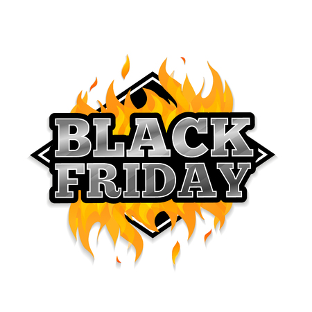 Triangular retro logo, icon, label, sticker for Black Friday. The pattern of the fire. Vector illustration
