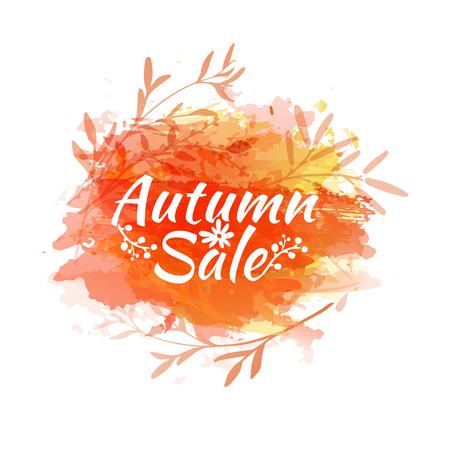 orange texture: Template design of logo, stamp silhouette autumn sale. Watercolor orange texture. Vector