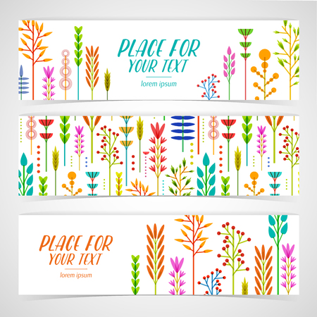 Tulips: A set of design templates horizontal banners with decoration geometric frame of flowers, plants, twigs, berries in a modern style. Good for invitations, posters, postcards. Place for your text. Vector illustration