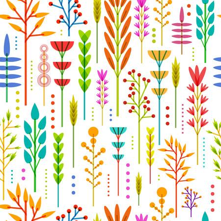 현대, 스칸디나비아, 민족 스타일에 기하학적 인 꽃, 식물, 나뭇 가지, 열매의 색, 밝은, 수직 패턴으로 원활한 벽지. 벡터