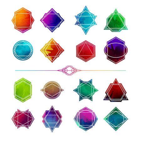 abstract logos: Set minimalist abstract geometric shapes, symbols and logos. Polygon frame, badges, icons with abstract colored background watercolor style Illustration