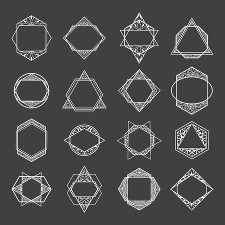 abstract logos: Set minimalist abstract geometric shapes, symbols and logos. Polygon frame, badges, icons with floral pattern