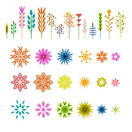 pflanzen: Set von farbigen geometrischen Elementen in der Anlage, Flach Stil. Satz von Blumen, Zweige, Pflanzen und Beeren. Gut für die Konstruktion und Logos. Vektor Illustration