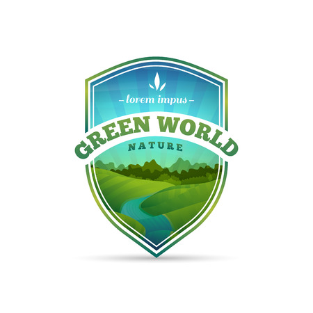 nature green: Logo, sign, badge in the shape of a shield with nature, landscape, tree, river. Cartoon style. Vector. Place for your text