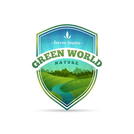 logotipo turismo: Logotipo, muestra, insignia en forma de un escudo con la naturaleza, paisaje, árbol, río. Estilo de dibujos animados. Vector. Lugar para el texto