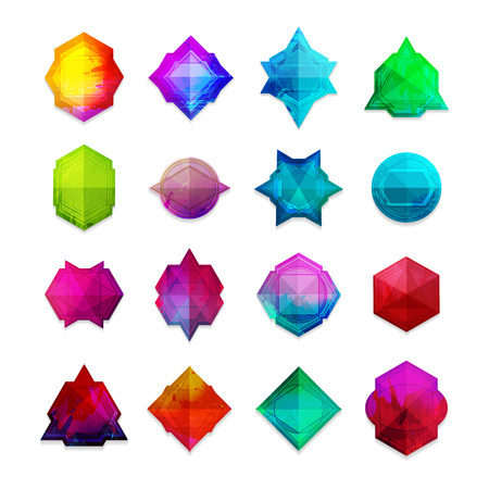 A set of colored gemstones in the geometric style. Good for a logo, label, badge, icons. Vector