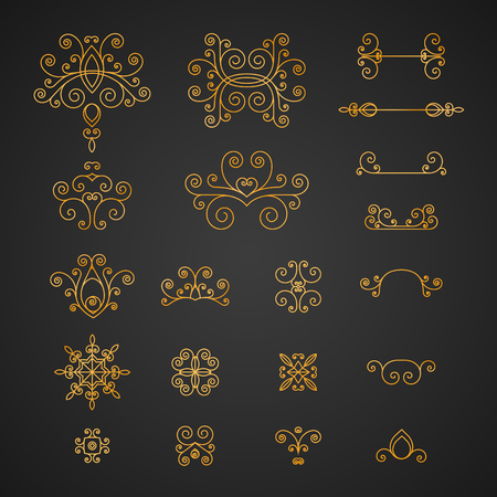 럭셔리, 빈티지 곱슬, flourishes 및 로고 및 기업 정체성에 대 한 소용돌이의 집합입니다. 일러스트