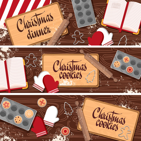 christmas cake: Set of Christmas, New Year banners with wooden table, kitchen, cooking cookies, sweets, cupcakes. Vector