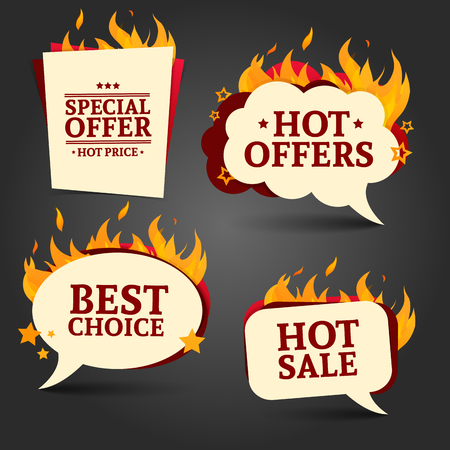 Set of logos, badges, buttons, icons, price tags for discounts, special offers, hot sale. Shape bubble. The decor of the fire. Vector 일러스트
