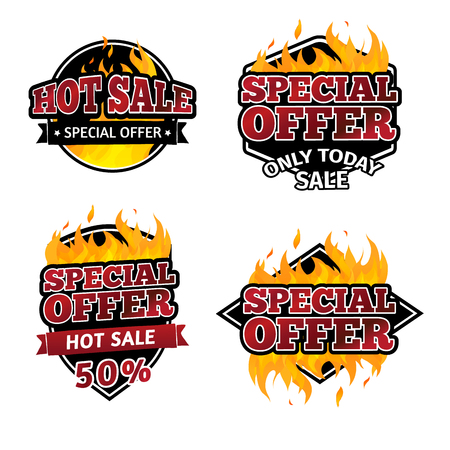 promotional offer: Set of retro logos, badges, buttons, icons, price tags for discounts, special offers, hot sale. The decor of the fire. Vector.