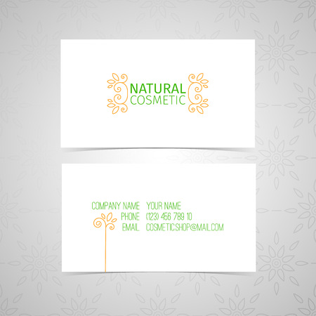 emplate design of natural cosmetics business card. Linear decor with floral patterns and swirls border. vector