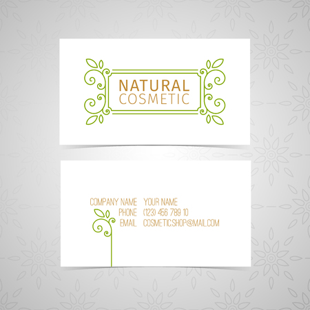 floral swirls: Template design of natural cosmetics business card. Linear decor with floral patterns and swirls. vector Illustration