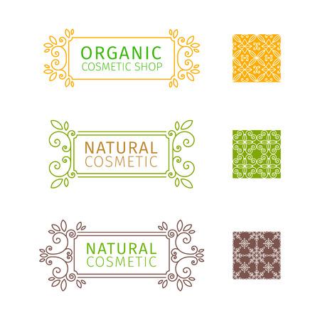 marcos decorativos: Conjunto de marcos decorativos con remolinos y los elementos florales para los cosméticos naturales. Conjunto de patrones sin fisuras. Vector