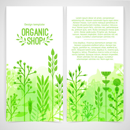 Vertical design template of brochures, booklets, posters, banners about organic shop. Design with leaves and herb. Vector
