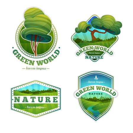 naturel: Jeu de logos, signes, insignes avec la nature et le paysage. style de bande dessinée. Vecteur. Placez votre texte