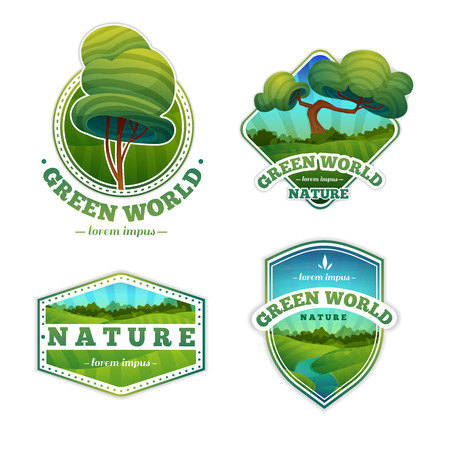 hill: Set of logos, signs, badges with nature and landscape. Cartoon style. Vector. Place for your text