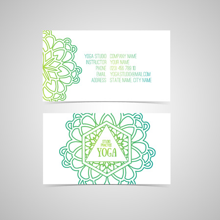 business card design: Design template for yoga studio business card with abstract mandala oriental. Vector. Place for your text.
