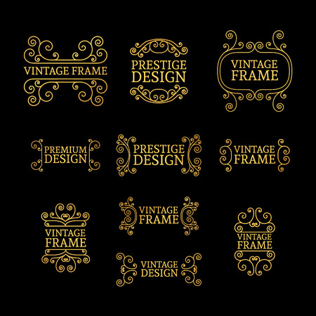 swirls vector: Vintage luxury logo template set with flourishes elegant lines. A set of signs, badges, frame, border, emblems with swirls. Vector Illustration