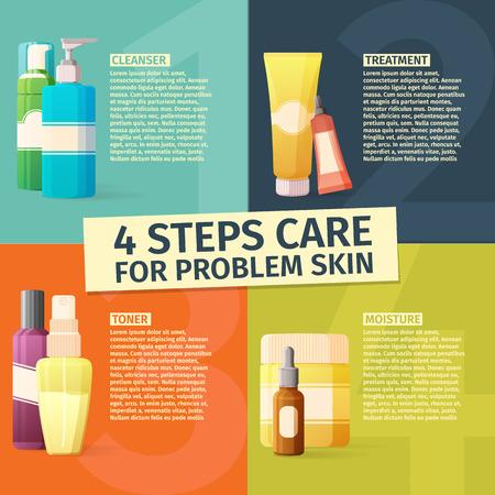 piel: Infografía de los cuatro pasos de cuidado para la piel del problema. Diseño de la plantilla de la infografía con nombres botellas de cosméticos. sistemas de cuidado de la piel Vectores