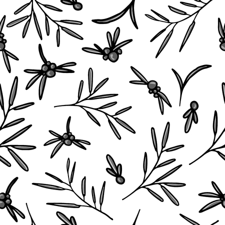cranberry illustration: Seamless monochrome simple pattern with berries, twigs and leaves. White background. Vector illustration Illustration