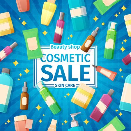 포스터, 브로셔 및 화장품 병 판매에 대한 배너 디자인. 스킨 케어 화장품 판매 밝은 파란색 배경.