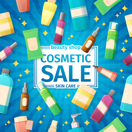 productos de belleza: Posters Diseño, folletos y pancartas en la venta de botellas de cosméticos. Para las ventas de cosméticos para el cuidado de la piel. En el fondo azul brillante. Vectores