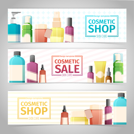 care: Horizontal design template of brochures, booklets, posters, banners about cosmetics shop. Design with bottles, tube of decorative cosmetics. Vector Illustration