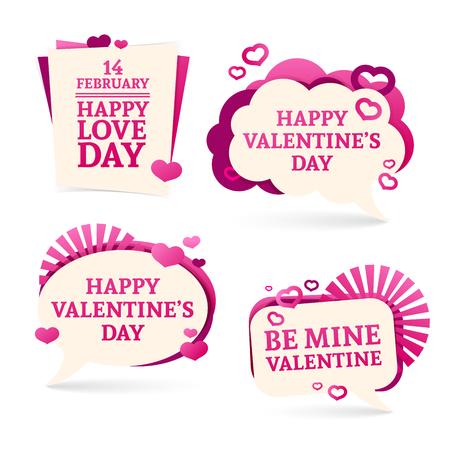 romantico: conjuntos, insignias, pegatinas para un feliz día de San Valentín. rosado romántico con la decoración de corazones.