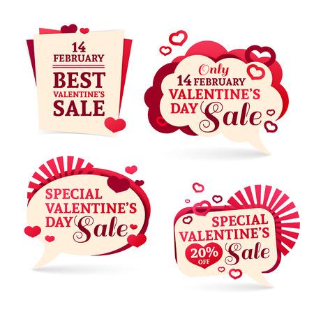 dia: conjuntos, insignias, pegatinas de promoción del Día de San Valentín. Aviso de descuentos, etiquetas de precios de venta del Día de San Valentín. Vectores