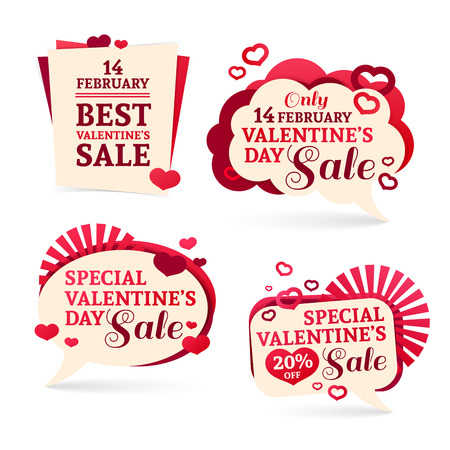 tag:  sets, badges, stickers for Valentines Day promotion. Notice of discounts, price tags sale Valentines Day.