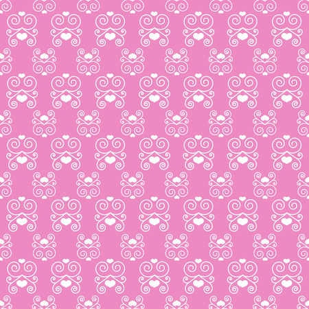 background pink: Seamless pattern with swirls and hearts on a pink background. Good decoration for weddings, Valentines Day invitations Illustration