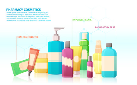 advantages: Template design brochures, posters with infographics about the benefits and advantages of pharmacy medical cosmetics.