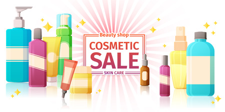 glowing skin: Template design of horizontal banners with a set of cosmetics packaging.  sale of cosmetics for skin care. Glowing background