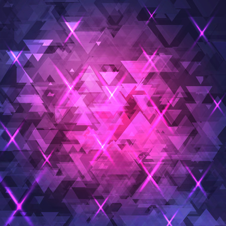 glow in the dark: Abstract, technology, futuristic dark background with a pattern of triangles, with the glow. Purple, blue background.
