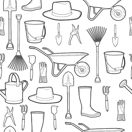 boots: Outline monochrome pattern with garden and farmer tools. Instruments and hat and wheelbarrow, gloves.