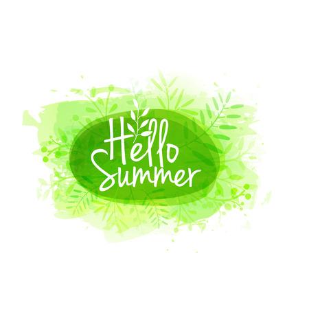 Template-Design von Stempel Silhouette Hallo, Sommer. Aquarell grün Textur mit Blumen, Pflanzen, Beeren Dekoration.