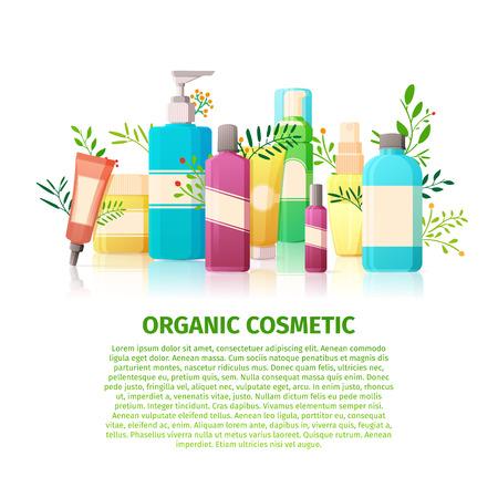 bandiera modello di progettazione, opuscoli, manifesti sui cosmetici biologici. prodotti di bellezza della natura per la pelle. flaconi per la cosmetica con floreale, elemento vegetale