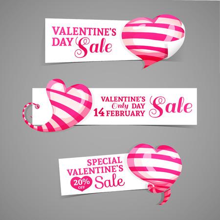 핑크 스트라이프 차원 마음의 장식 가로 배너, 엠블럼, 배지의 디자인 설정. 발렌타인 데이 할인에 대한 좋은, 판매를 제공합니다.