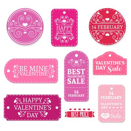 Conjunto de día pegatinas, etiquetas, etiquetas, los descuentos del día de coupons.Valentine, promociones, ofertas de San Valentín rosada. Lugar para el texto