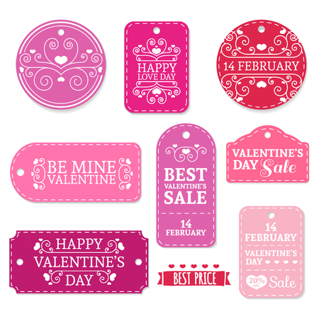 web store: Set of pink Valentines Day stickers, labels, labels, coupons.Valentines Day discounts, promotions, offers. Place for your text
