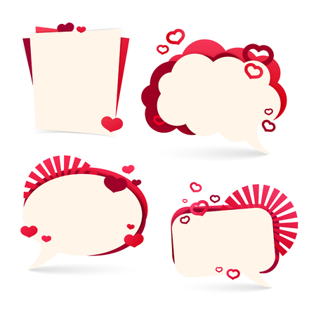text bubble: Set design template sticker, tag,  badge, for Valentines Day. Form a bubble with the decor of hearts. Place for your text.