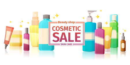 glowing skin: Template design of horizontal with a set of cosmetics packaging. for the sale of cosmetics for skin care. Glowing background Illustration