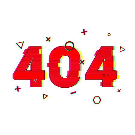 glitch: Design page 404 page not found. Error 404 red in glitch and noise style. banner design error page in red and vsh effect on a white background. Vector Illustration