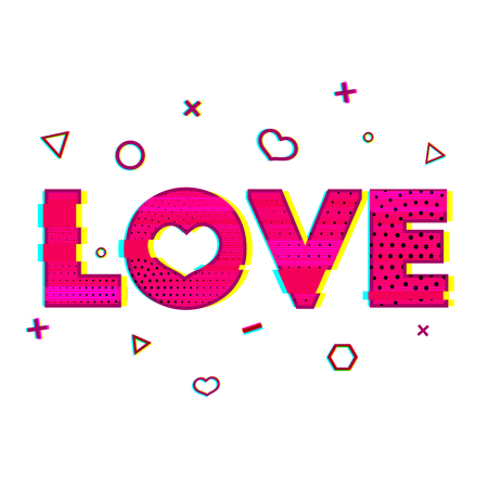 glitch: Romantic banner with the word love in the style of a glitch. Pink word love with a noise texture. Romantic love is a word for greeting cards, banners, posters in the Glitch style. Vector illustration