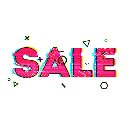 glitch: Banner design, poster, brochure with glitch effects to sales, promotions, offers. The inscription sale on the white background with geometric element. Vector illustration