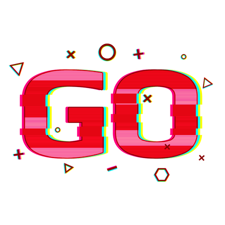 distorted: Banner design, card, poster with the word Go. The word Go in the style of a glitch and noise. Motivating web banner with text Go red color and texture of noise and glitch. Vector Illustration