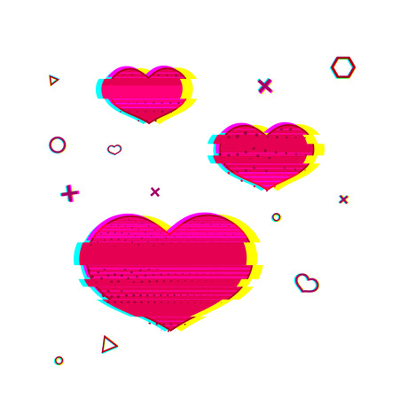 glitch: Glitch romantic heart symbol. Pink heart symbol with noise texture. Romantic icon glitch style pink color. Pink heart for web banners, postcards, shares in the Glitch style. Vector illustration